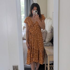 Old Navy Mustard Floral Dress XS